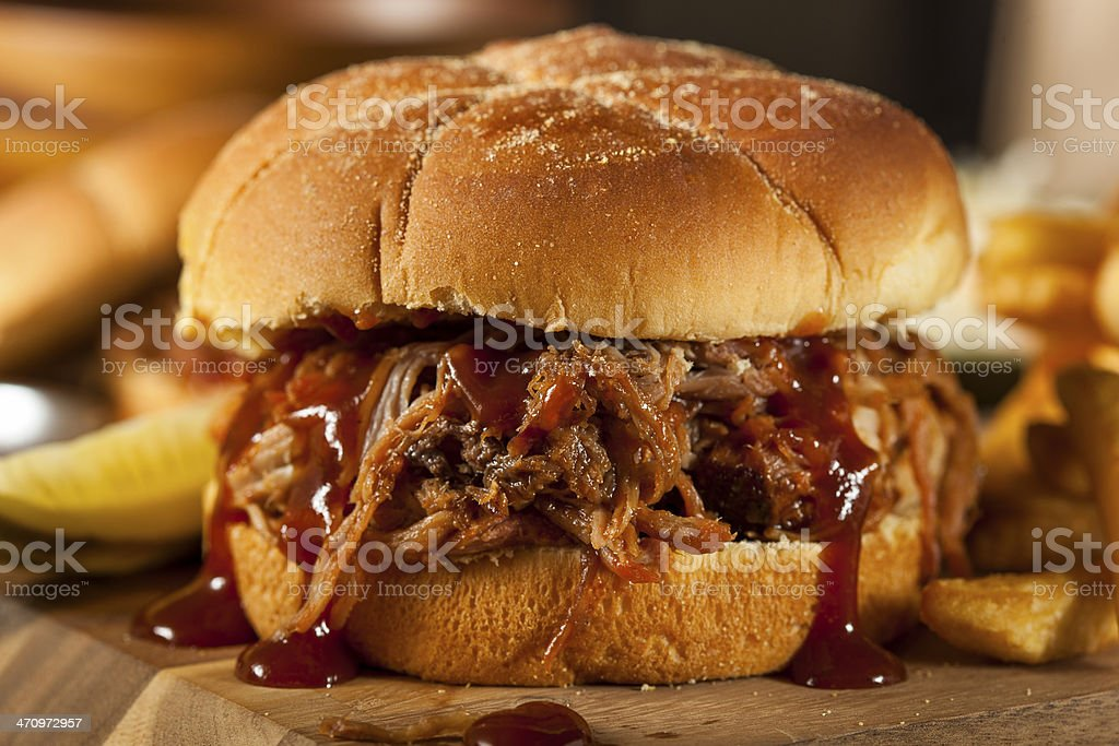 Barbeque Pulled Pork Sandwich stock photo