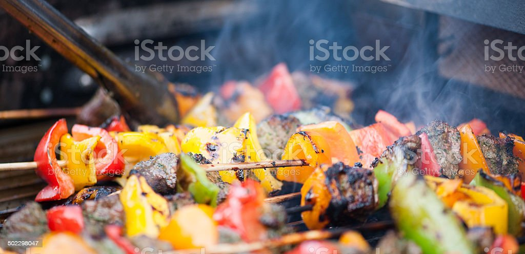 Barbeque with beef and  fresh vegetables stock photo