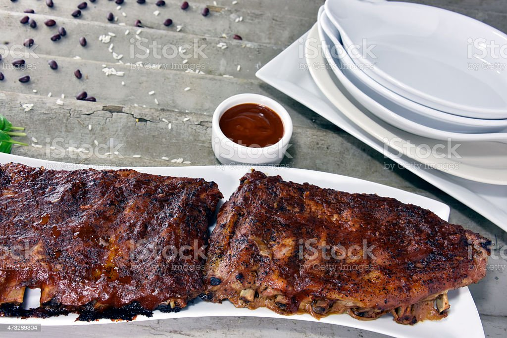 Barbequed Pork Rib Rack royalty-free stock photo