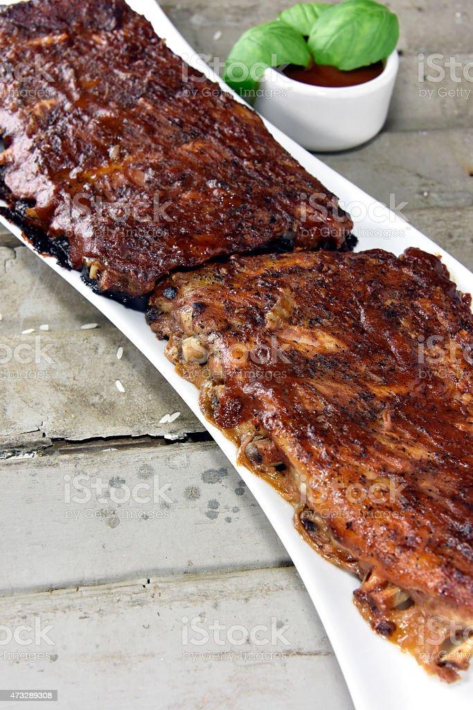 Barbequed Pork Rib Rack royalty-free stock photo