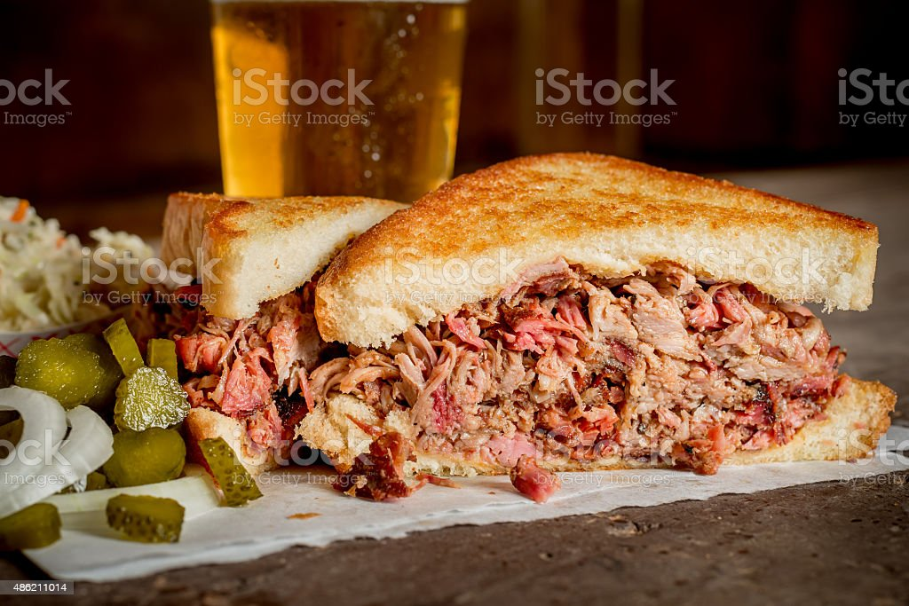 Barbequed Pulled Pork Sandwich stock photo