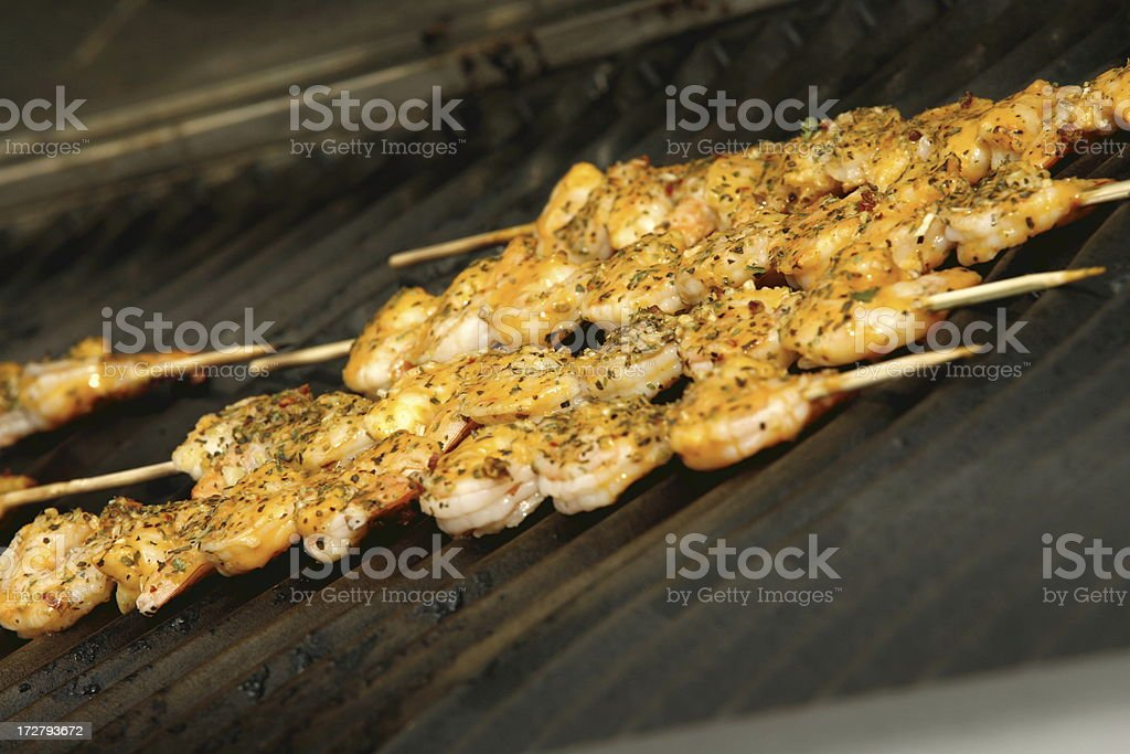 Barbequed Shrimp Skewers royalty-free stock photo