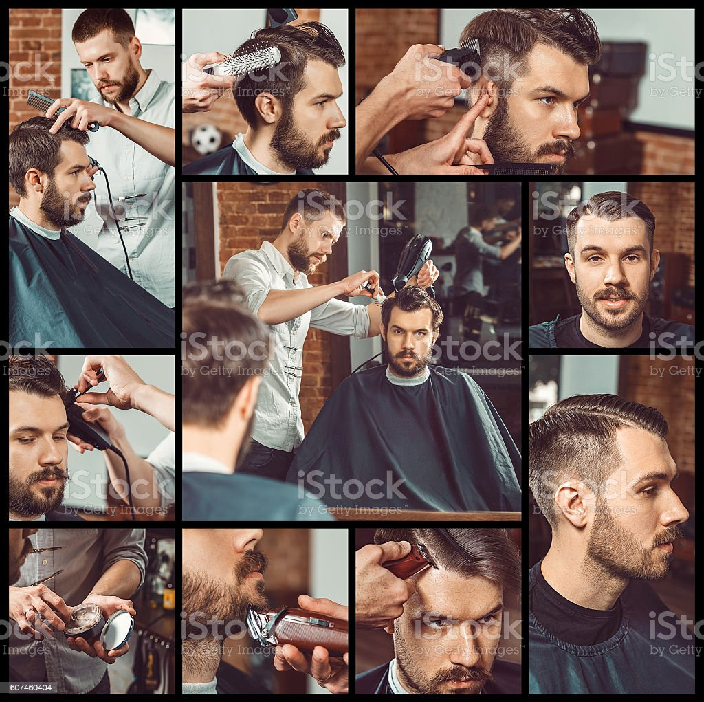 Barber at work. Collage from images of barbershop stock photo