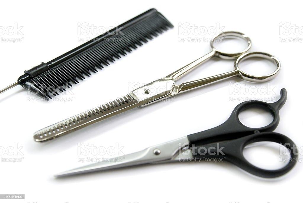 barber comb scissors stock photo