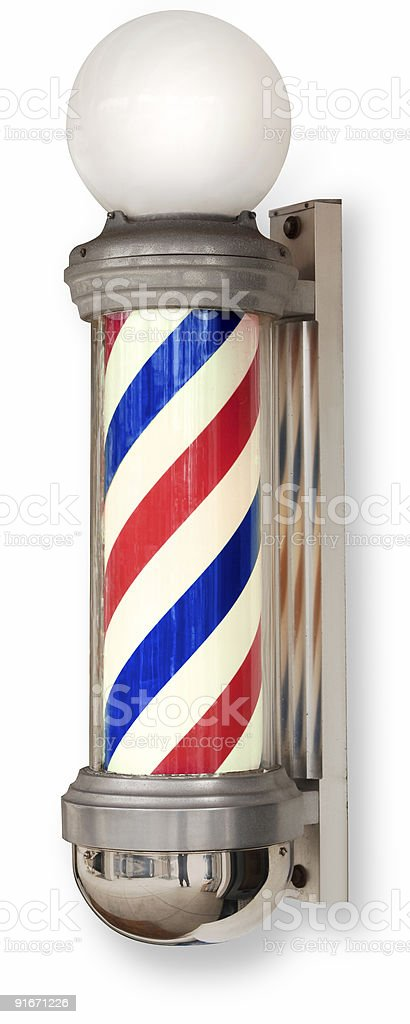 barber pole on white royalty-free stock photo