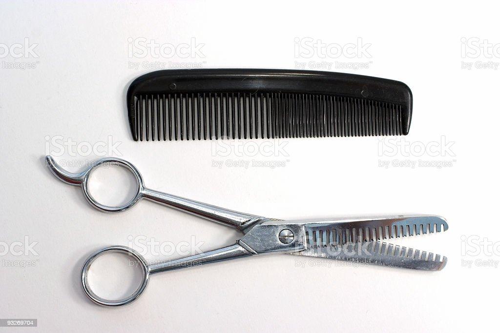 Barber Scissors & Comb royalty-free stock photo