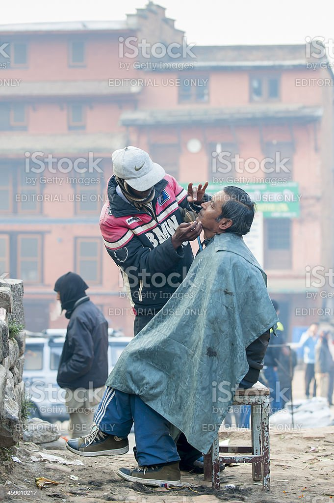 Barber shop in street royalty-free stock photo