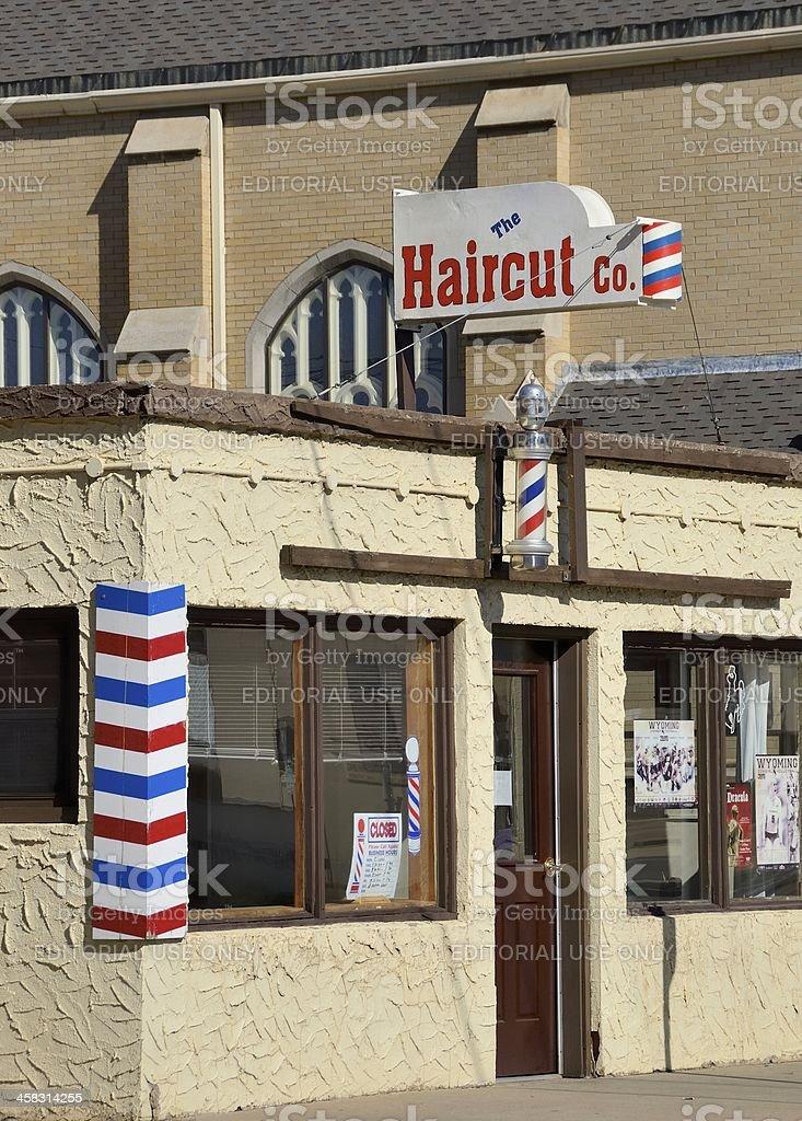 Barber Shop, Laramie, Wyoming stock photo