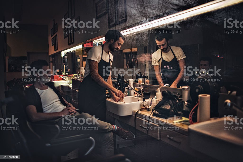 Barber shop stories stock photo