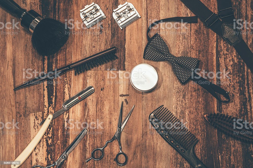 Barber tools. stock photo