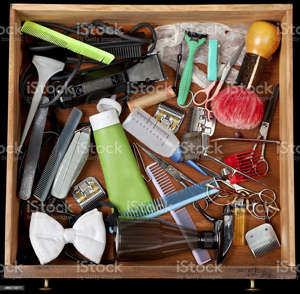 Barber's junk drawer stock photo