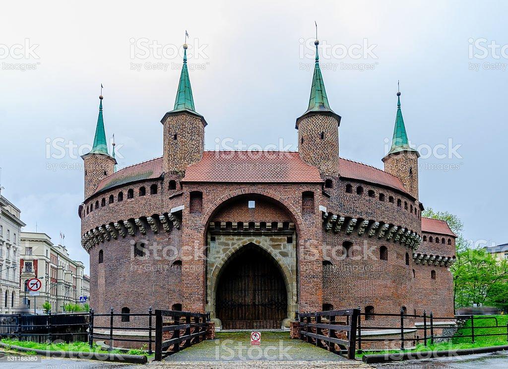 Barbican fortress in Krakow, Poland stock photo