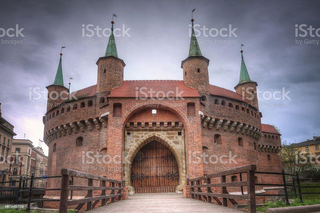 Barbican in Krakow, Poland. stock photo