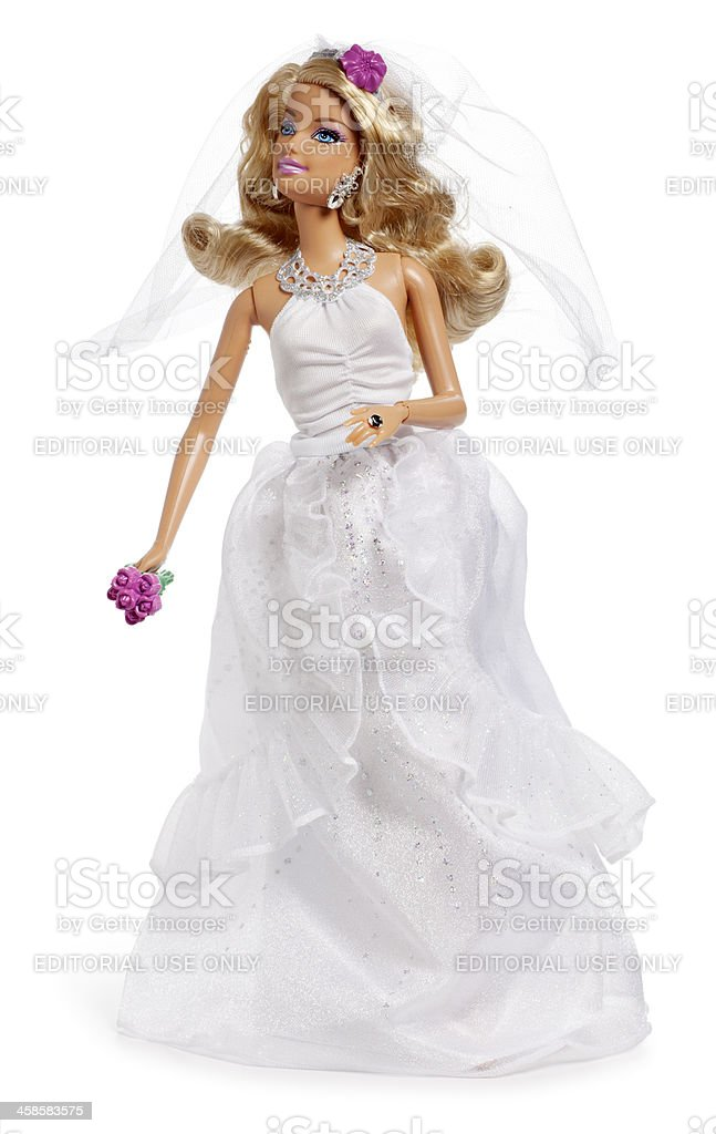 Barbie Bride on White stock photo