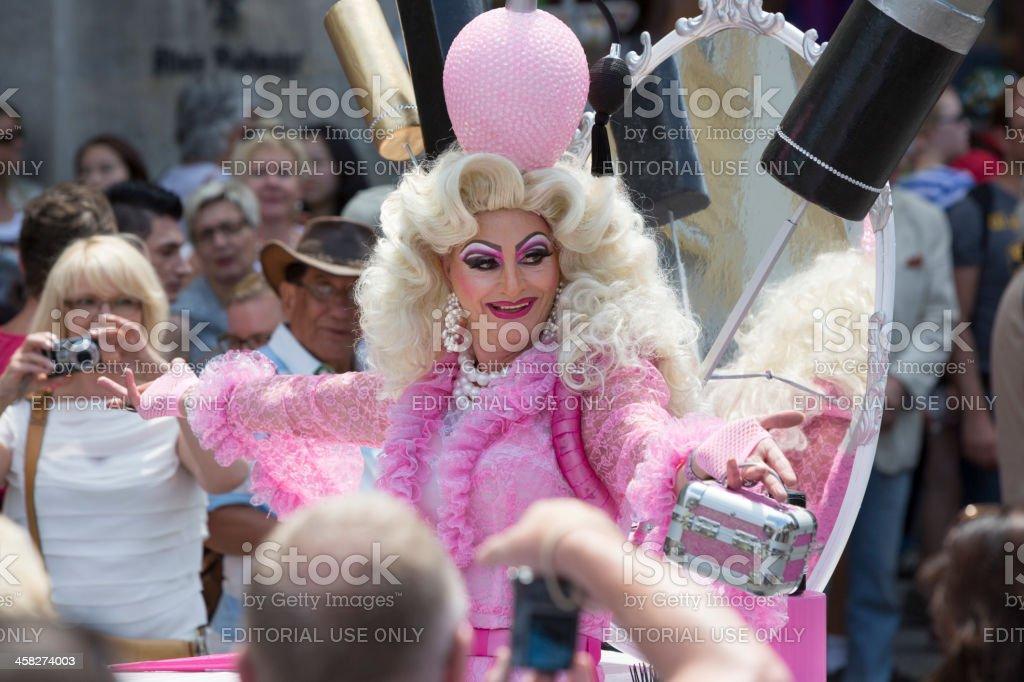 Barbie style Transvestite at Christopher Street Day, Munich, Germany stock photo