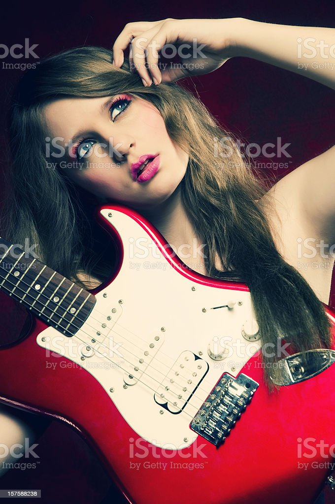 Barbie with electro guitar stock photo