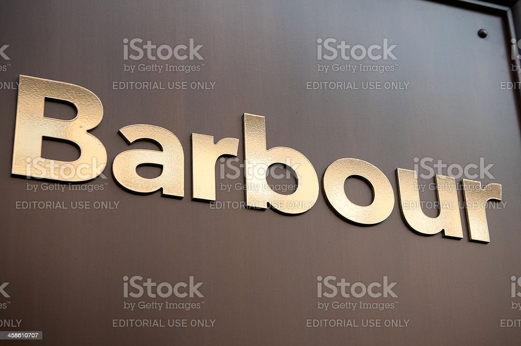 'Barbour store sign at Regent Street, London' stock photo