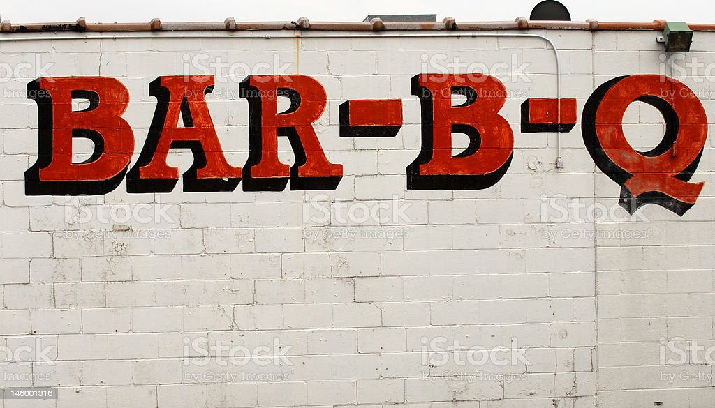 Bar-B-Q sign on the side of a building royalty-free stock photo
