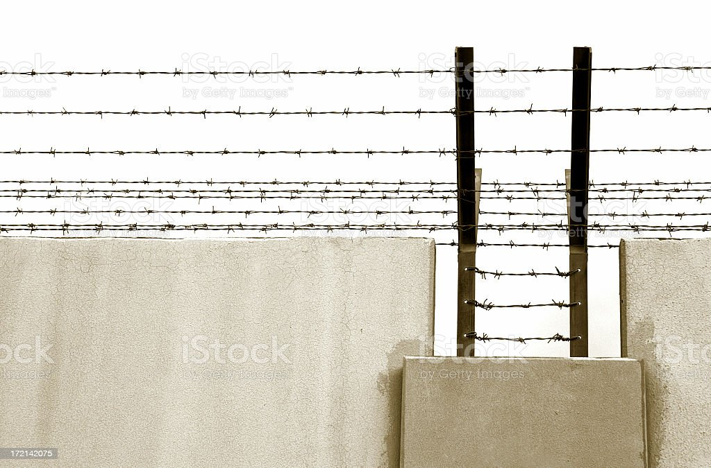 barbwire wall royalty-free stock photo