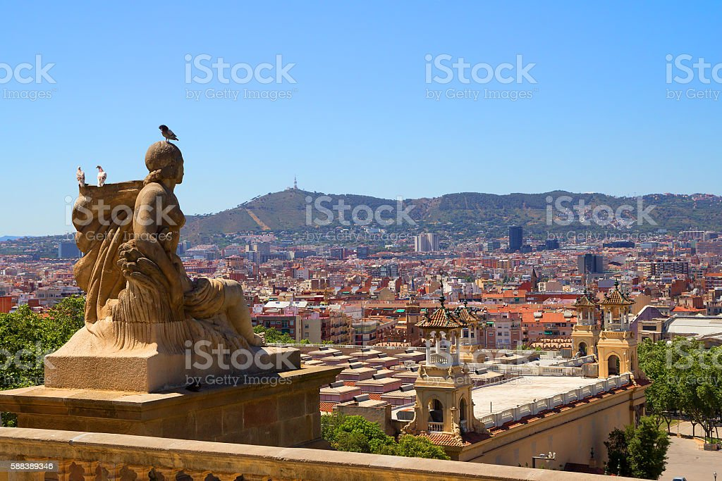 Barcelona. A view of the city from Montjuic. stock photo