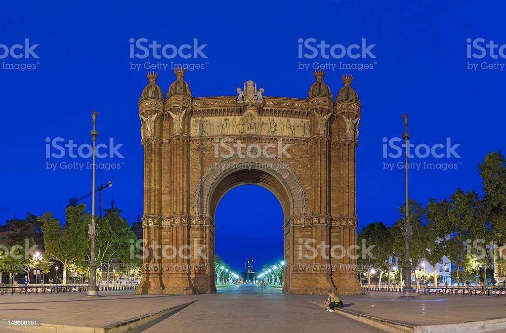 Barcelona Arc de Triomf promenade landmark blue dusk Catalonia Spain stock photo
