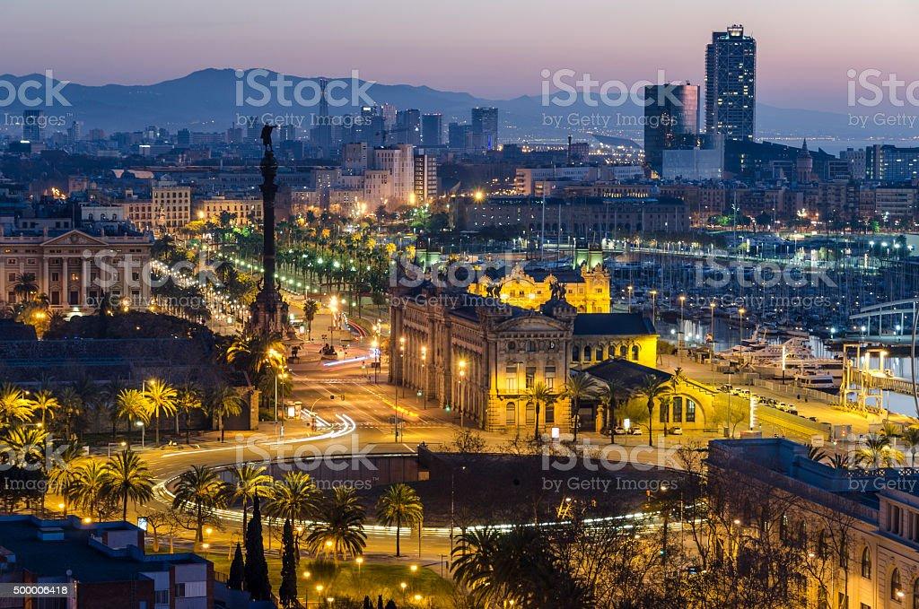 Barcelona de noche stock photo