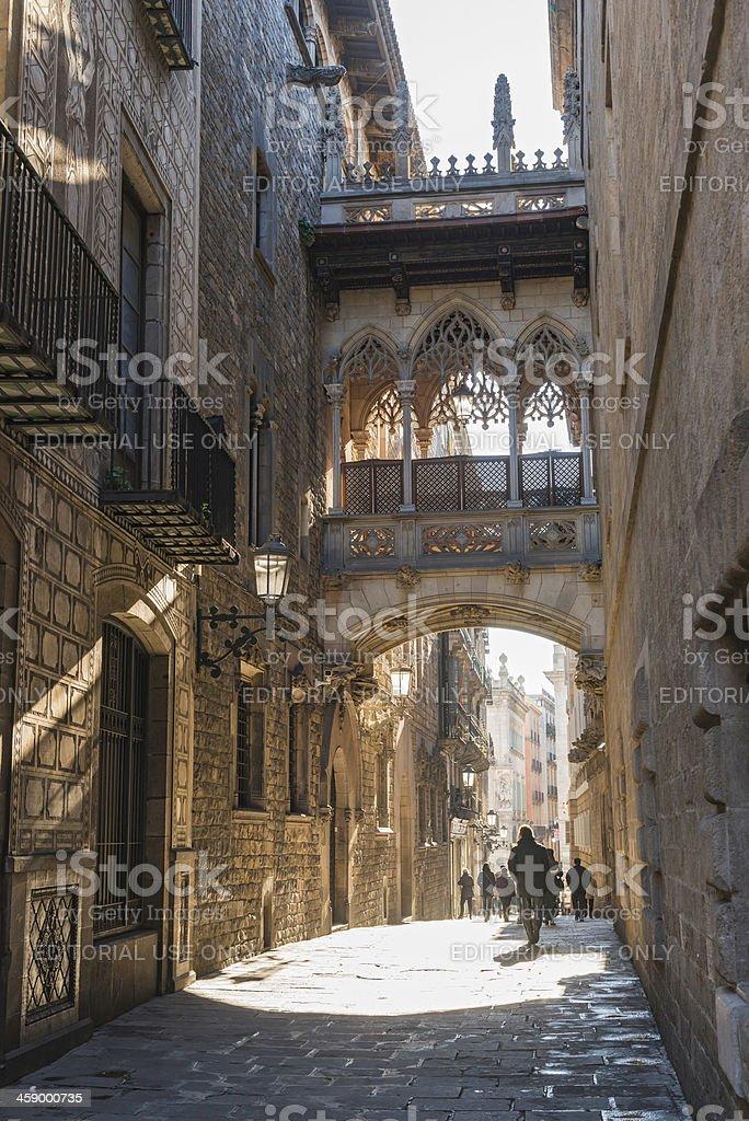 Barcelona Barri Gotic Gothic Quarter sunrise Bisbe Irurita bridge Spain royalty-free stock photo