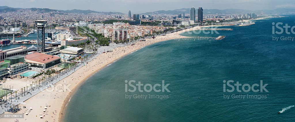 Barcelona beach aerial view stock photo