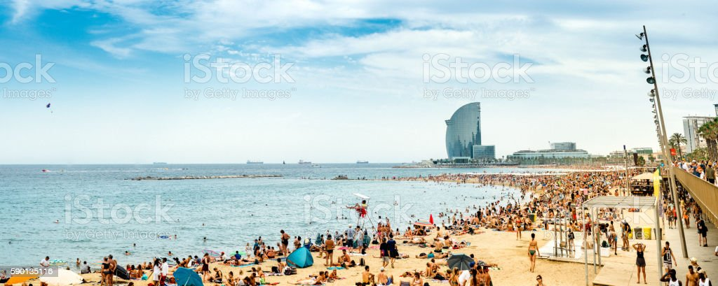 Barcelona Beach Panorama stock photo