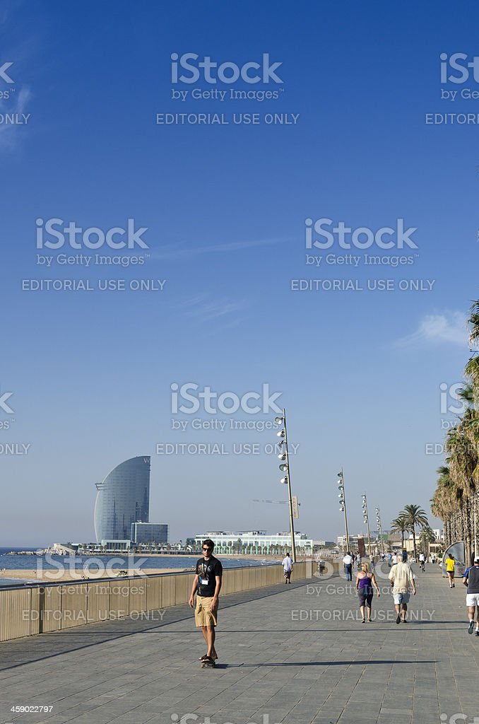 Barcelona beach promenade royalty-free stock photo