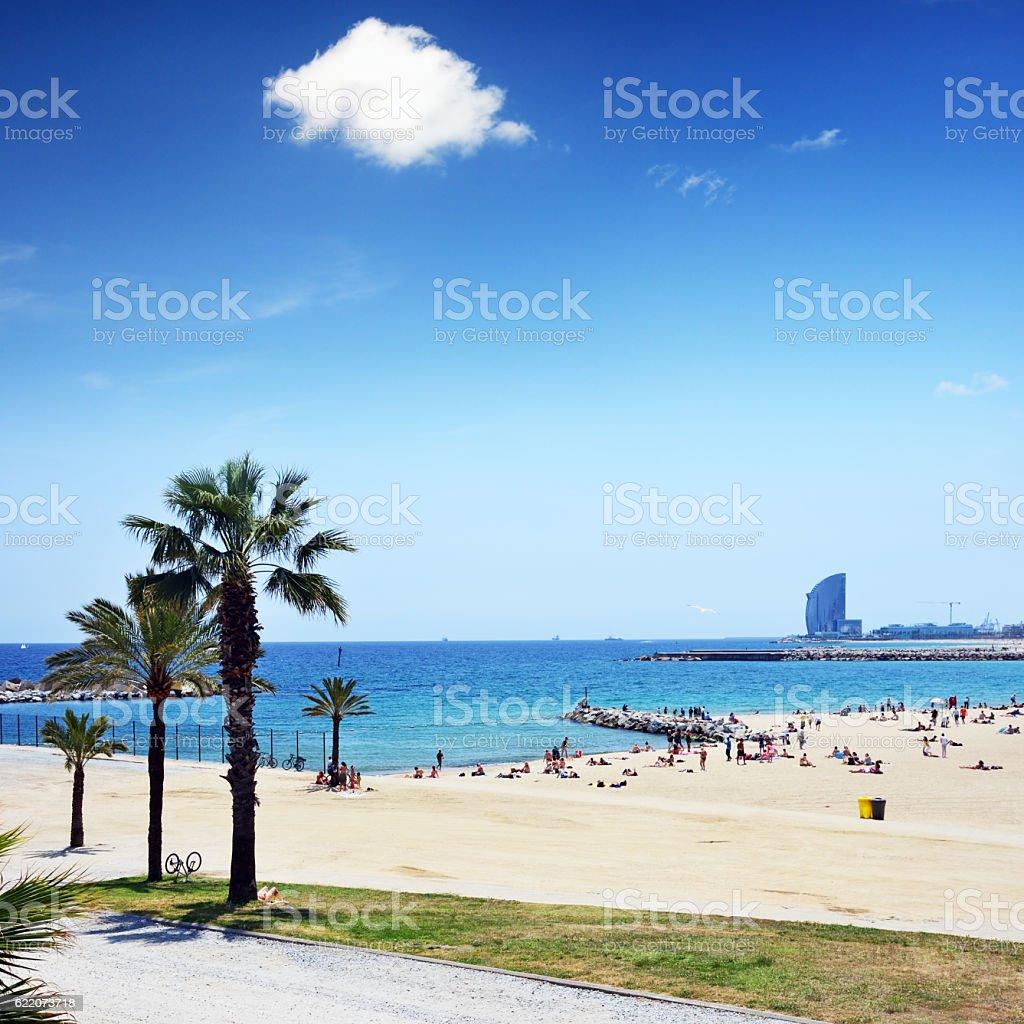 Barcelona beach, Spain stock photo