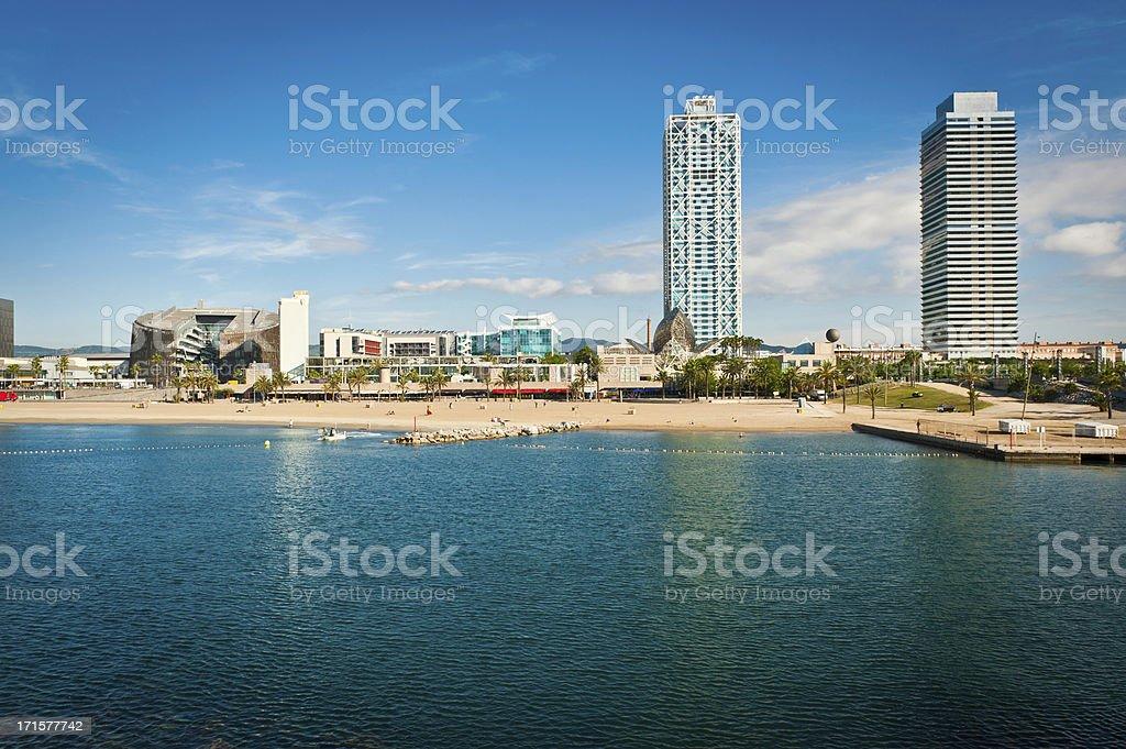Barcelona beach waterfront promenade development Mediterranean Ocean summer Catalonia Spain royalty-free stock photo