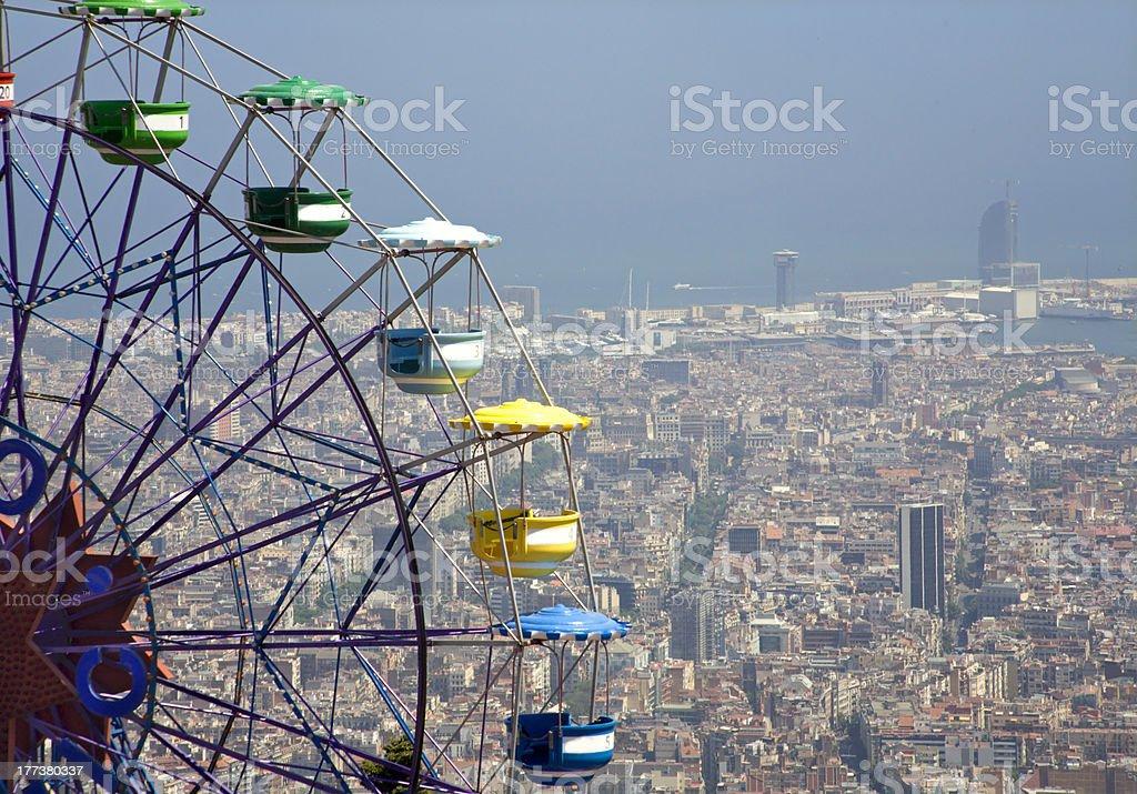 Barcelona - big wheel and outlook from Tibidabo stock photo