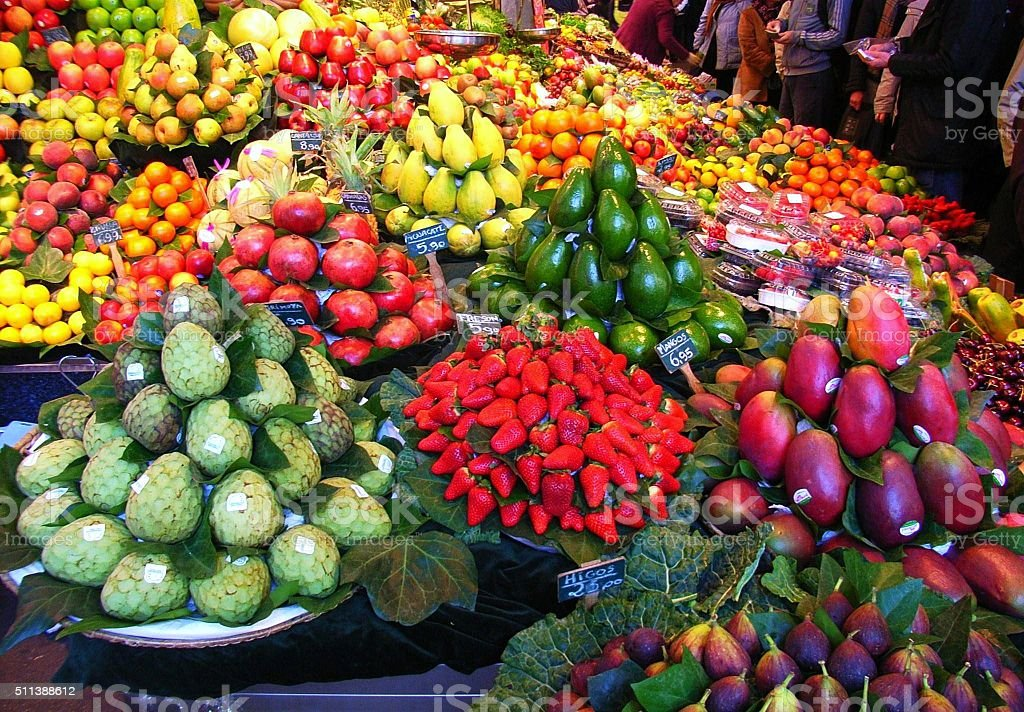 Barcellona - Frutta alla Boqueria stock photo