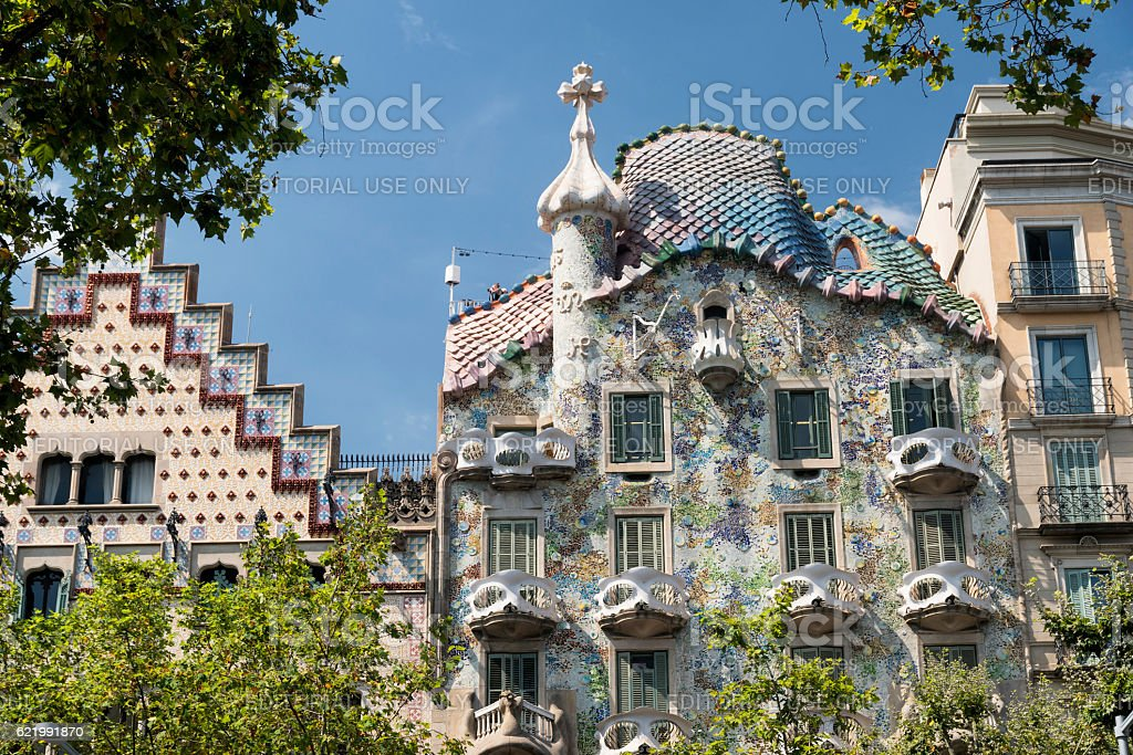 Barcelona (Spain): buildings of Passeig de Gracia stock photo
