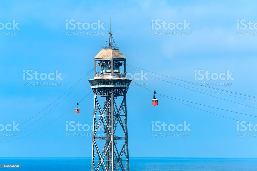 Barcelona cable car stock photo