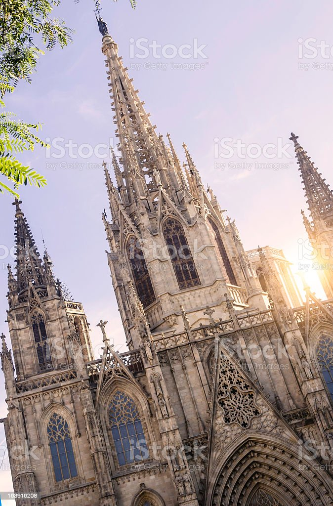 Barcelona Cathedral at sunset stock photo