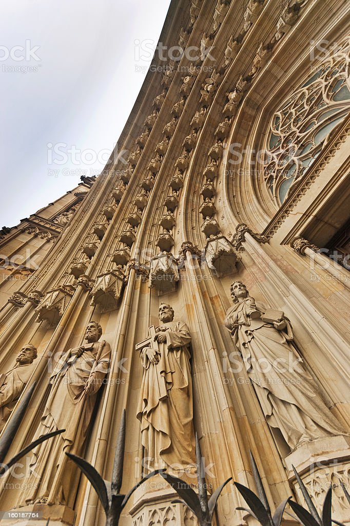 Barcelona Cathedral entrance stock photo