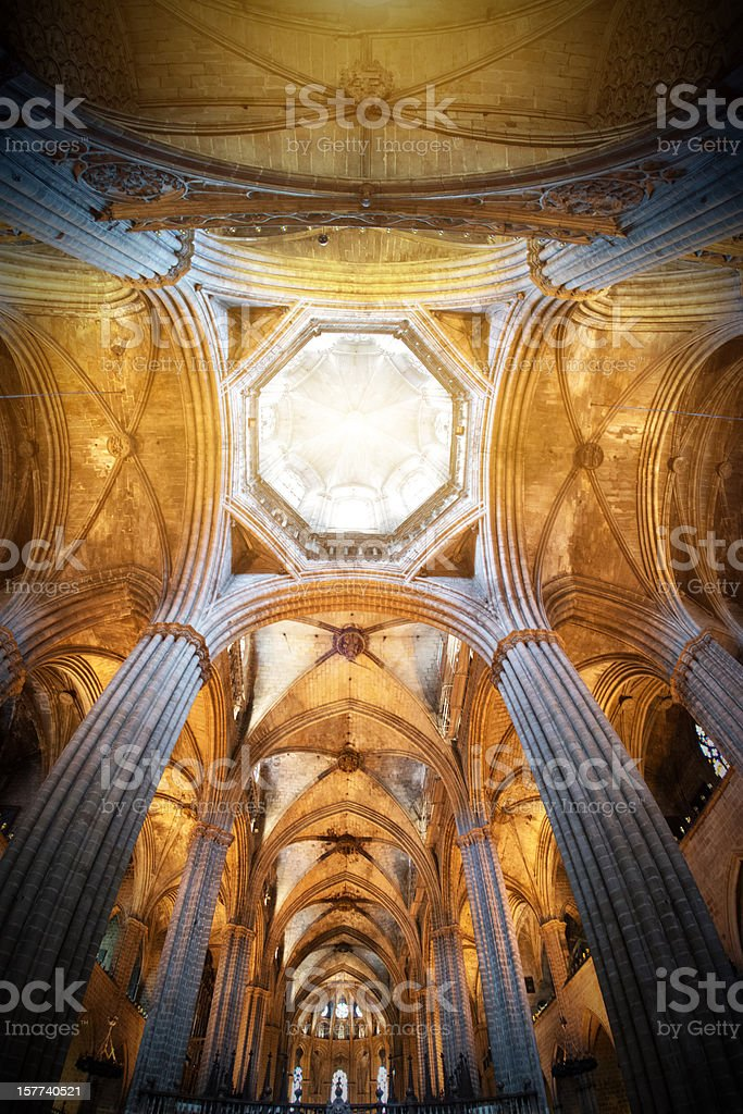 Barcelona Cathedral in Catalonia stock photo