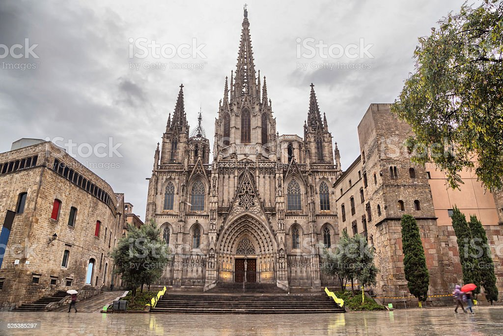 Barcelona Cathedral, located in Gothic Quarter stock photo