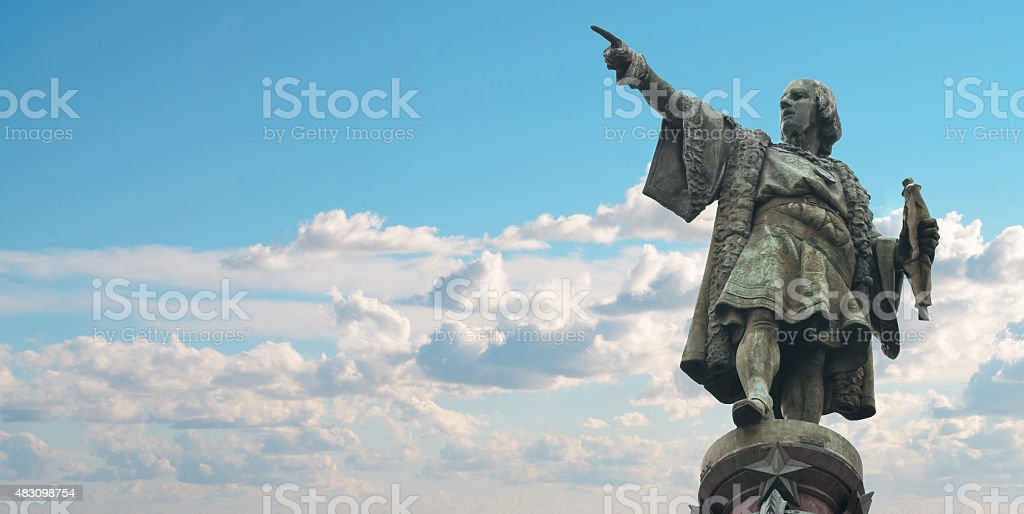 Barcelona Christopher Columbus monument stock photo