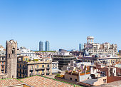 Barcelona city aeral panoramic view, Spain