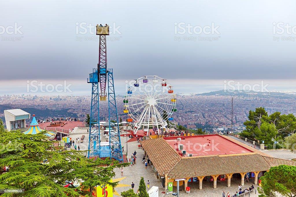 Barcelona city from mountain top Tibidabo. stock photo