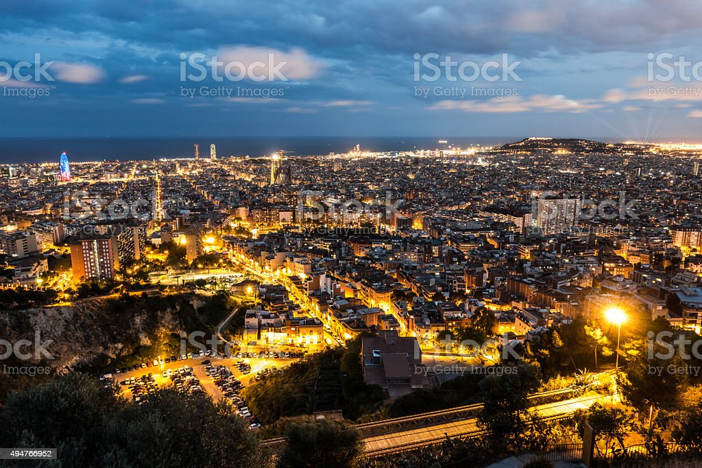 barcelona city night carmel torre agbar mapfre torres sagrada familia stock photo