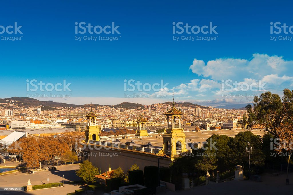 Barcelona City View from Montjuich Hill stock photo
