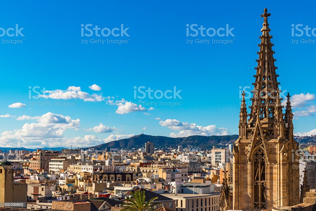 Barcelona city view from the roof stock photo
