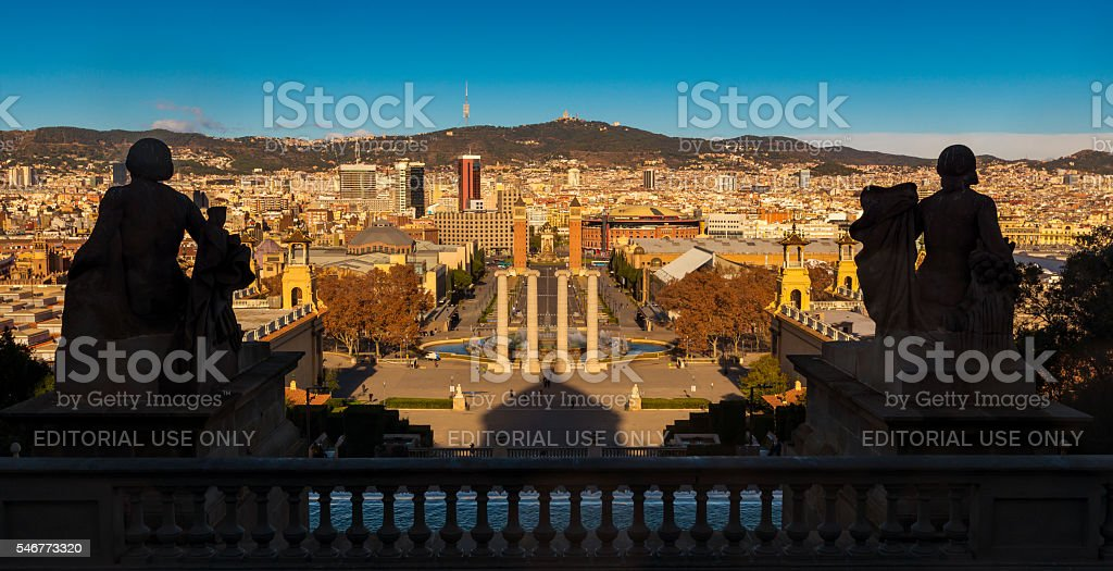 Barcelona cityscape Aerial view seen from Montjuic during the sunset stock photo