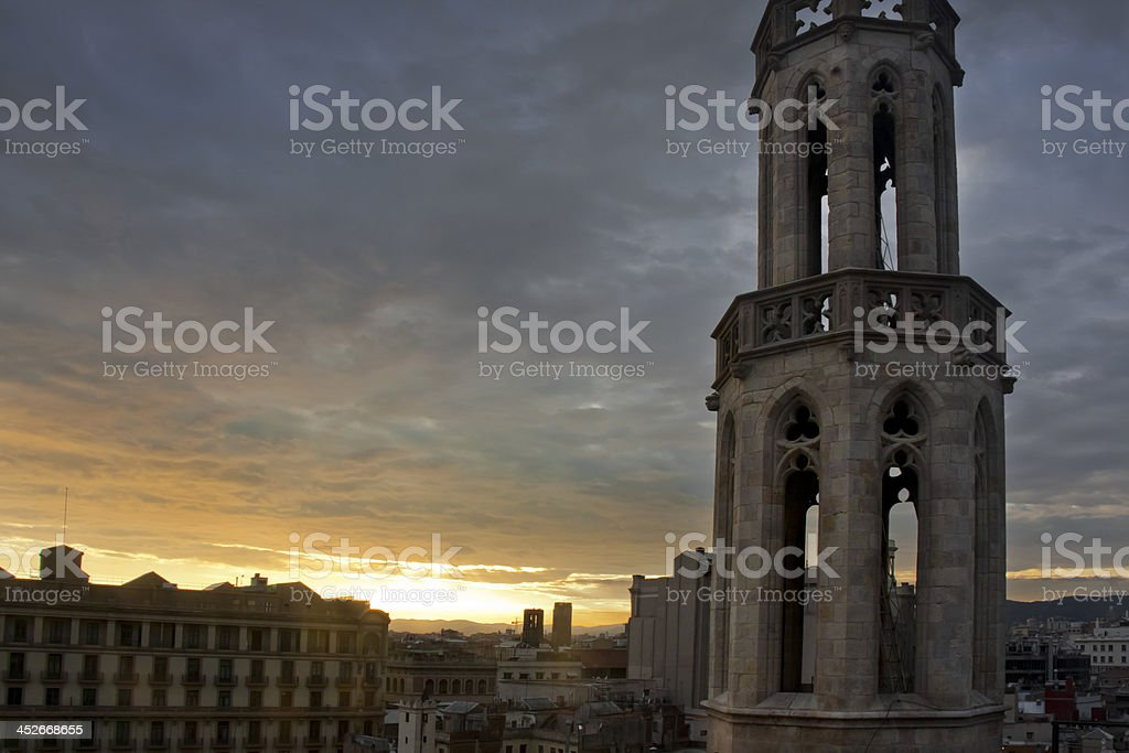 Barcelona cityscape and church tower. stock photo