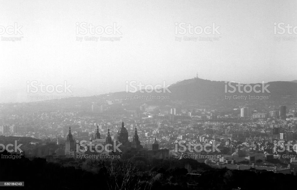 Barcelona cityscape and Palau Nacional, viewed from Montjuïc, Spain stock photo