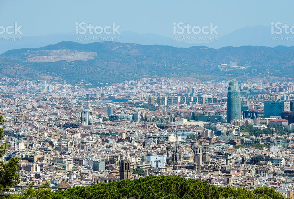 Barcelona cityscape, city panorama, Torre Agbar, view from Montjuic Castle stock photo